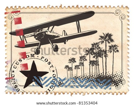 air mail stamp with plane and palms - stock photo