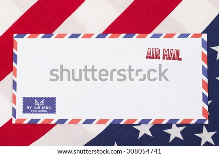 air mail stamped on the envelope, USA - stock photo