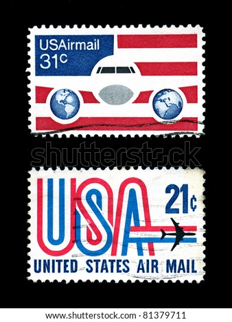 air mail stamps of usa - stock photo