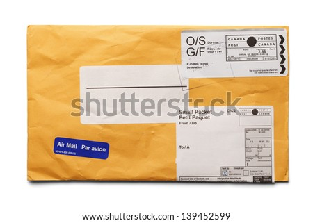 Air Mail with postage and copy space isolated on white background. - stock photo
