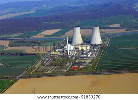 Air photo of a nuclear power plant - stock photo
