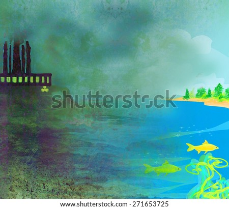 air polluting factory chimneys  - stock photo