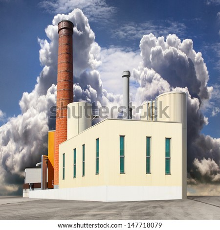 Air pollution concept. Old dirty factory with smoking stacks. - stock photo
