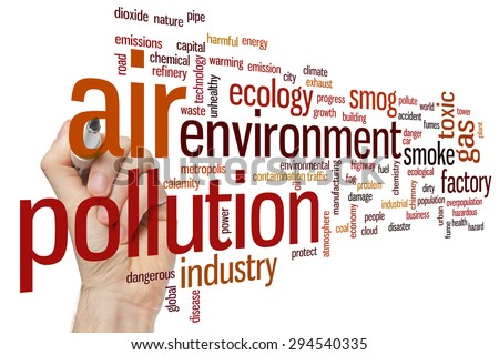 Air pollution concept word cloud background - stock photo