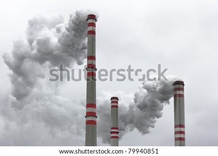 air pollution from coal power plant - stock photo