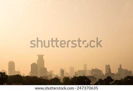 Air pollution in Shanghai, China - stock photo