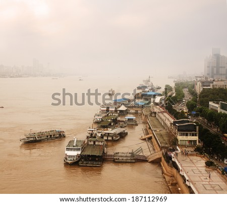 Air Pollution over the Yangzi River in Wuhan, Hubei Province, China - stock photo