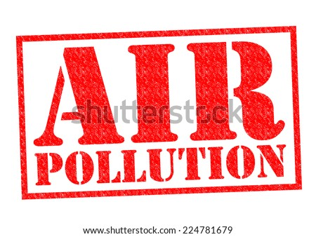 AIR POLLUTION red Rubber Stamp over a white background. - stock photo