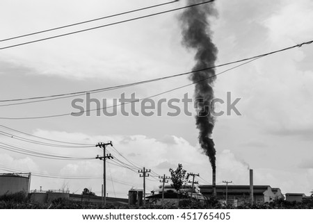 Air pollution smoke from factory, Thailand (Black and white) - stock photo