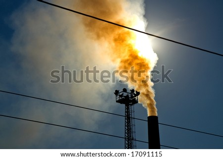 air pollution smoke from steel factory - stock photo