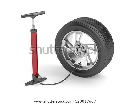 Air pump and car tire on white background - stock photo