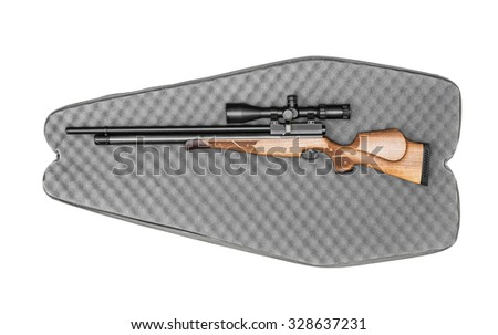 Air rifle in the bag, gun in a case  isolated on the white - stock photo
