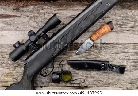 air rifle with telescopic sight , for sport hunting
