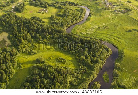 air scape from balloon, view of countryside - stock photo