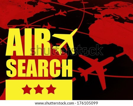 Air search travel concept, airlines on world map - stock photo