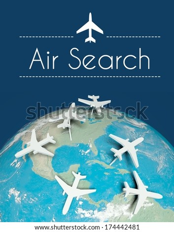 Air search travel concept, airplanes on globe - stock photo