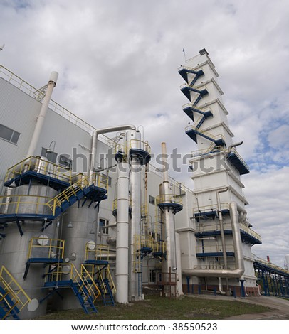 air-separating workshop producing Industrial gases (outside view) - stock photo