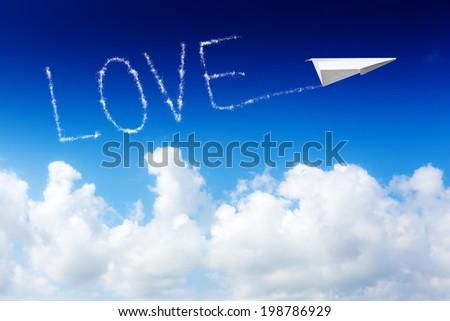 Air show love loop  - stock photo