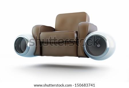 air taxi, aircraft engine leather armchair - stock photo