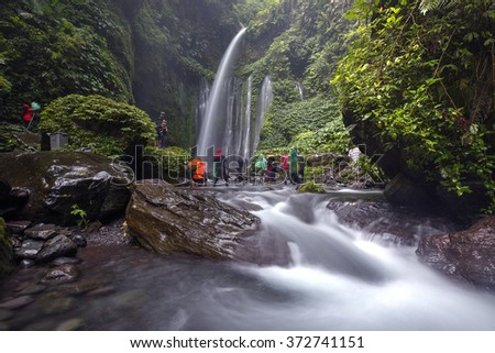 Air Terjun Tiu Kelep waterfall near Rinjani, Senaru, Lombok, Indonesia, Southeast Asia - stock photo
