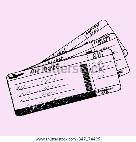 air ticket, doodle style, sketch illustration, hand drawn, raster