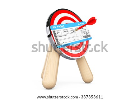 Air Ticket in Center of Archery Target on a white background - stock photo
