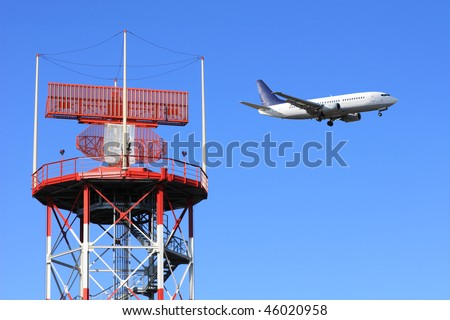 air traffic control, radar with airplane in background - stock photo