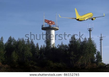 Air traffic control  radar with jetcarrier in background. - stock photo