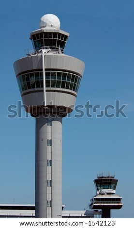 Air traffic control tower at Amsterdam Airport - stock photo