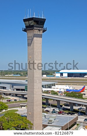 Air traffic control tower at Tampa International Airport. - stock photo