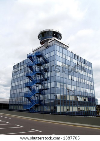 Air traffic control tower in Prague airport - stock photo