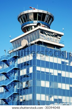 Air traffic control tower in Prague airport Ruzyne. - stock photo