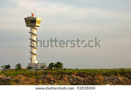 Air traffic control tower in the evening - stock photo