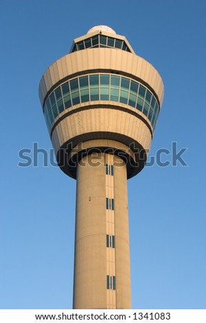 air traffic control tower of Schiphol, Amsterdam at sunrise - stock photo