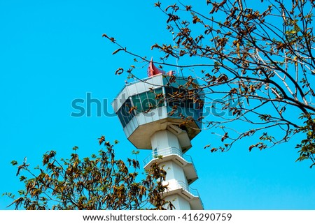 Air Traffic Control tower Sunset Sky - stock photo