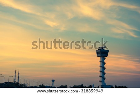 Air Traffic Control tower Sunset Sky, vintage color style - stock photo