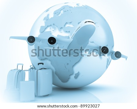 Air traffic with a globe and luggage - stock photo