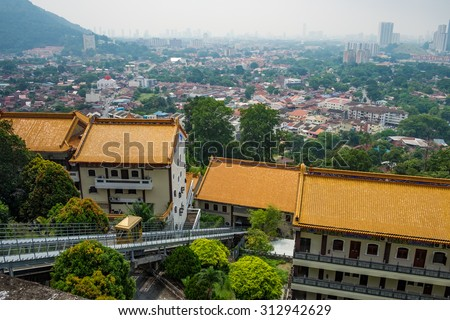 "Air Tram at The Kek Lok Si Temple ""Temple of Supreme Bliss""  a Buddhist temple situated in Air Itam in Penang - stock photo"
