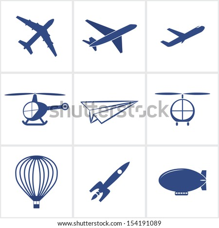 air transport icons set.(rasterized version) - stock photo