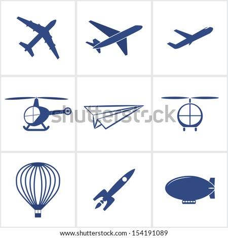 air transport icons set.(rasterized version) - stock photo