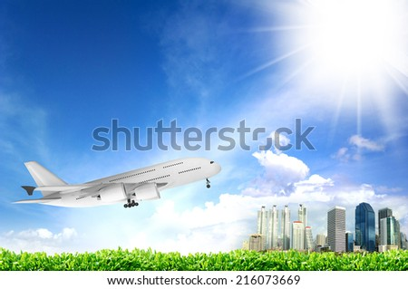 Air transport with blue sky