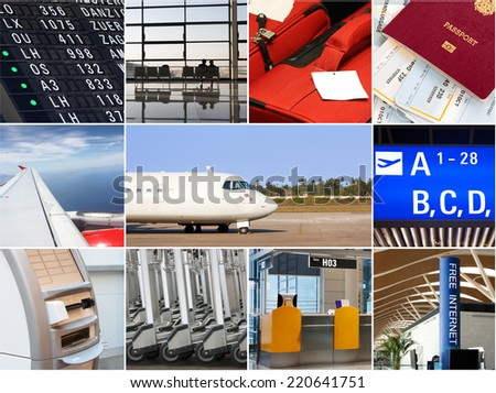 Air travel collage - stock photo