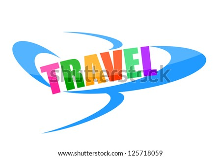 Air travel colorful illustration with plane isolated on white background - stock photo