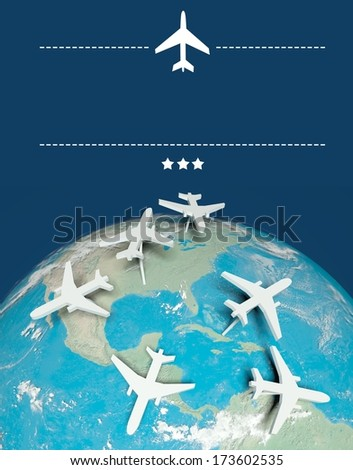 Air travel concept, airplanes on globe with copy space - stock photo