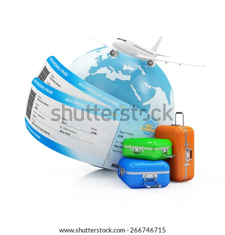 Air Travel Concept. Earth Globe with Airline Boarding Pass Tickets, Luggage and Flying Passenger Airplane isolated on white background. ( Elements of this image furnished by NASA ) - stock photo