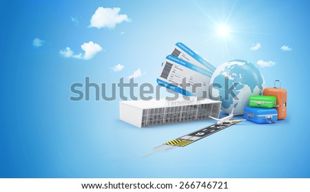 Air Travel Concept. Earth Globe with Airline Boarding Pass Tickets, Luggage, Terminal  and Runway with Passenger Airplane on blue background with clouds. ( Elements of this image furnished by NASA ) - stock photo