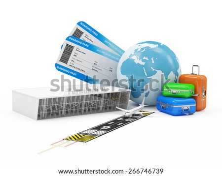 Air Travel Concept. Earth Globe with Airline Boarding Pass Tickets, Luggage, Terminal  and Runway with Passenger Airplane isolated on white background. ( Elements of this image furnished by NASA ) - stock photo
