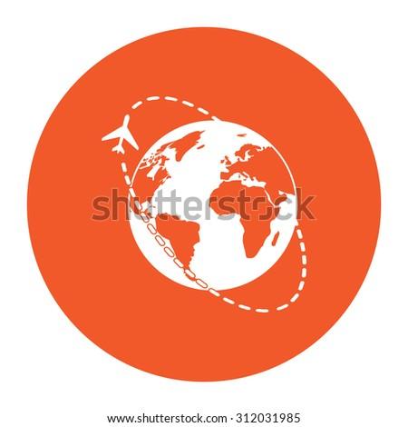 Air travel destination. Simple flat white icon in the orange circle. illustration symbol - stock photo