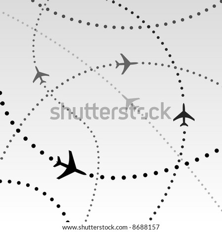 Air travel. Dotted lines are flight paths of commercial airline passenger jet airplanes. Abstract Illustration - stock photo