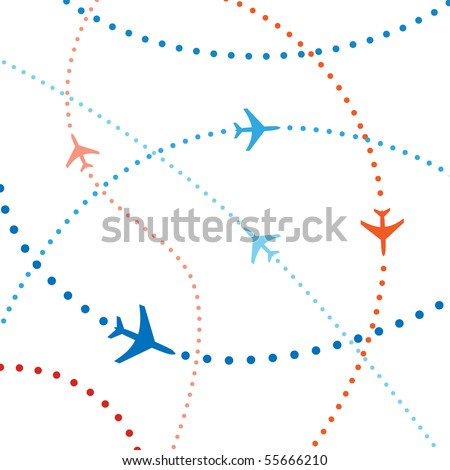 Air travel. Dotted lines are flight paths of commercial airline passenger jets flying in air traffic. - stock photo